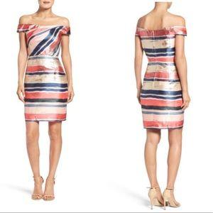 Adrianna Papell Gold Leaf Jacquard Sheath Dress